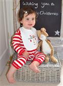 Buy Christmas Gift Set - Red Stripy Romper with Bib Online