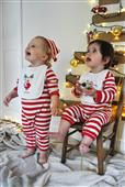 Buy Christmas Stripy Rompersuit, Bib and Hat Set Online